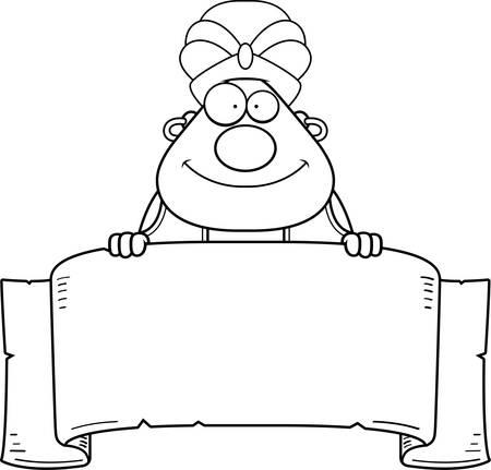 djinn: A cartoon illustration of a genie with a banner.