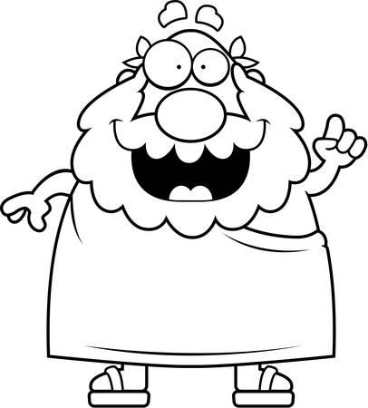 philosopher: A happy cartoon Greek philosopher with an idea. Illustration