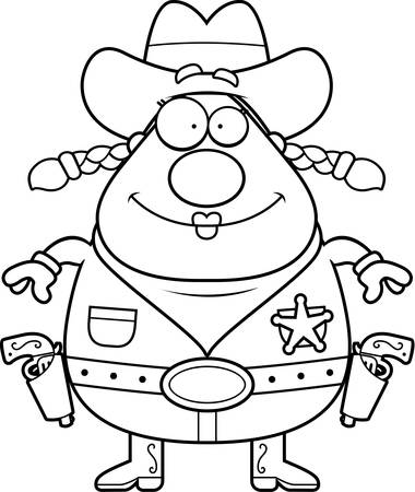 holster: A happy cartoon cowgirl standing and smiling.