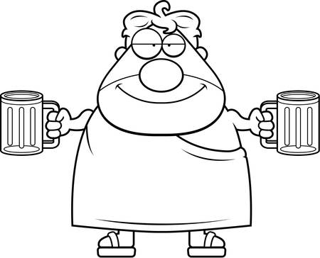 fraternity: A happy cartoon frat boy with two beers. Illustration