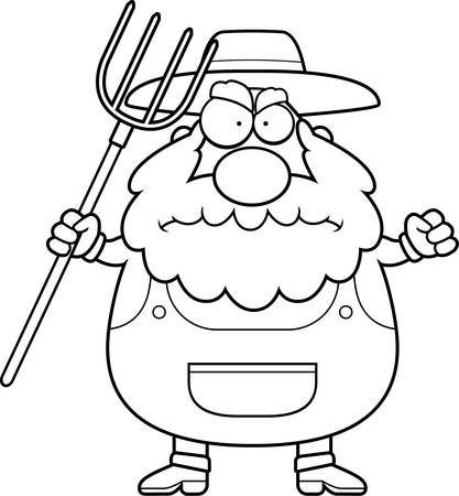 grouchy: A cartoon farmer with an angry expression.