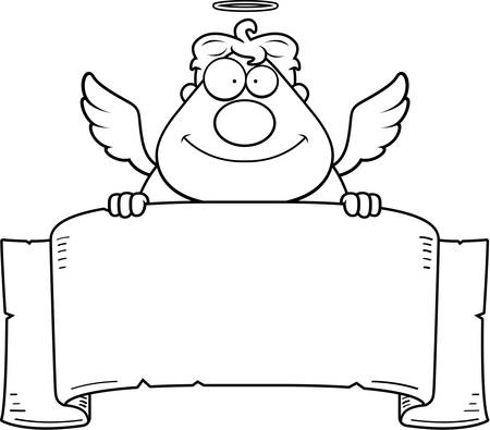 paper banner: A cartoon angel with a paper banner. Illustration