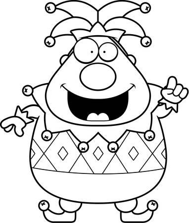 A cartoon jester with an idea.