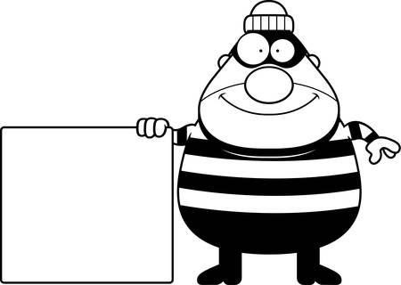 crook: A cartoon illustration of a burglar with a sign. Illustration