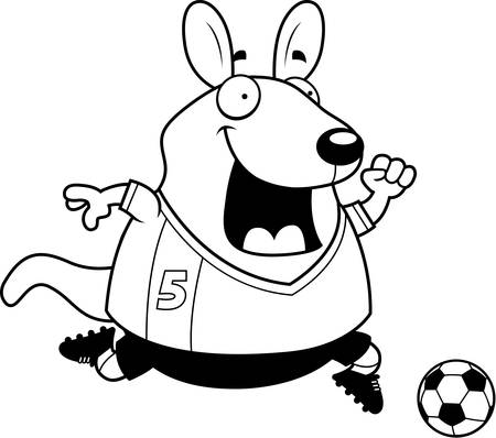 A cartoon illustration of a wallaby playing soccer. Illustration