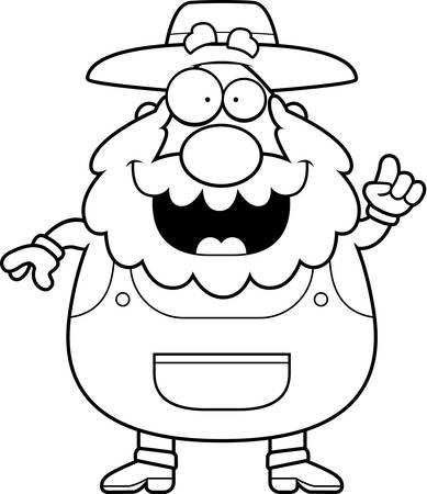 A happy cartoon farmer with an idea. Ilustração