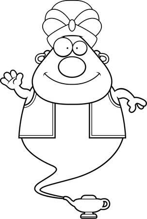 jinn: Una ilustraci�n de dibujos animados de un genio que agita.