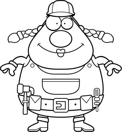 Een gelukkig cartoon vrouw bouwvakker staan en glimlachen. Stock Illustratie
