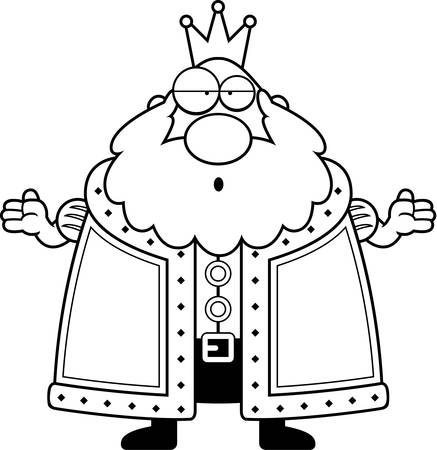guy standing: A cartoon king with a confused expression. Illustration