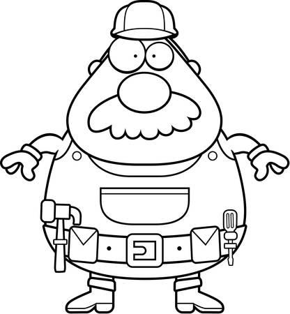 Een cartoon klusjesman met een snor staan.