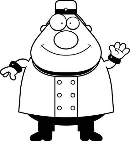 bellhop: Una ilustraci�n de dibujos animados de un botones que agita. Vectores