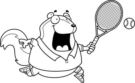 skunk: A cartoon illustration of a skunk playing tennis.