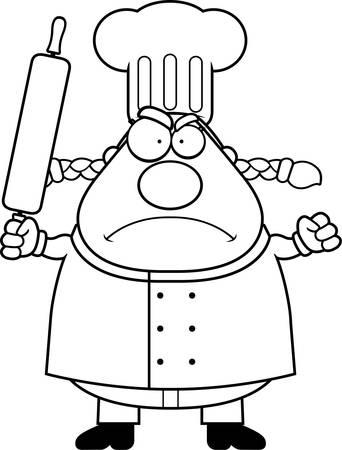 怒りの表現で漫画シェフ。  イラスト・ベクター素材