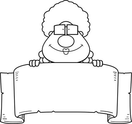 A cartoon illustration of a grandma with a banner sign.