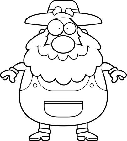 guy standing: A happy cartoon farmer standing and smiling. Illustration