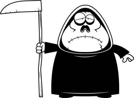 exhausting: A cartoon illustration of a grim reaper looking sad. Illustration