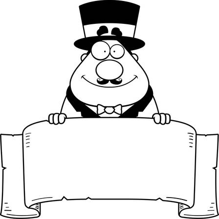 ringmaster: A cartoon illustration of a circus ringmaster with a banner.