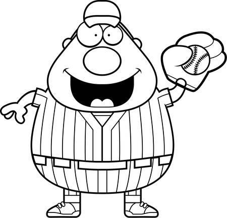 catching: A cartoon illustration of a baseball player catching a ball.