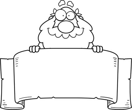 philosopher: A cartoon illustration of a Greek philosopher with a banner. Illustration