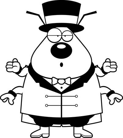ringmaster: A cartoon illustration of a flea circus ringmaster with a confused expression. Illustration