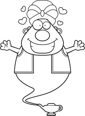 djinn: A cartoon illustration of a genie ready to give a hug. Illustration