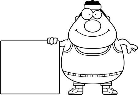 tank top: A cartoon illustration of an exercising man with a sign. Illustration