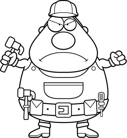 frowning: An angry cartoon handyman frowning and looking upset. Illustration
