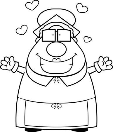 mrs: Una caricatura feliz la se�ora Claus listo para dar un abrazo. Vectores