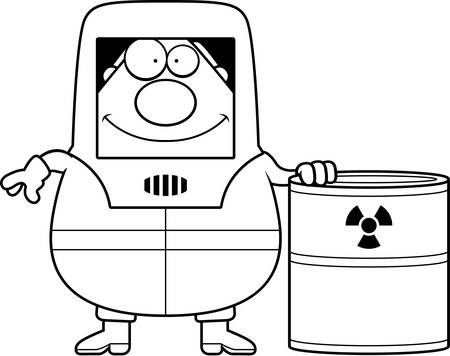 A cartoon illustration of a man in a hazmat suit with a barrel of radioactive waste.