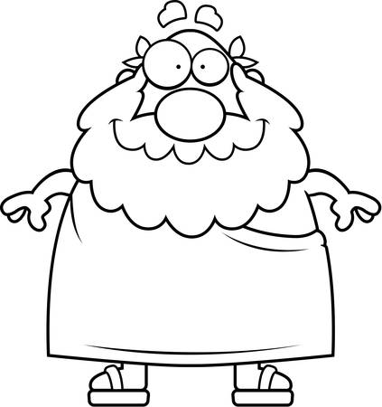 A happy cartoon Greek philosopher standing and smiling.