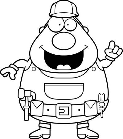 handyman cartoon: A happy cartoon handyman with an idea.