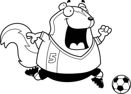A cartoon illustration of a skunk playing soccer. Illustration