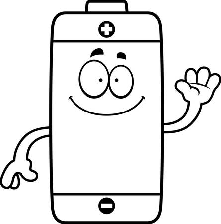A cartoon illustration of a battery waving.