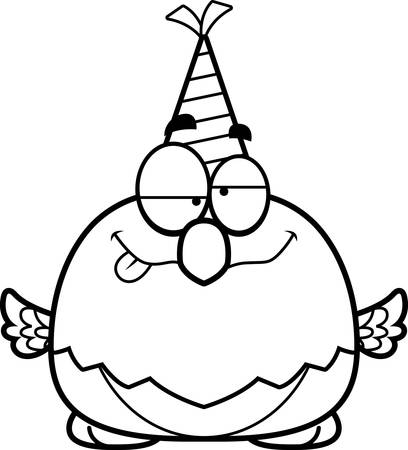 impaired: A cartoon illustration of a parrot with a party hat looking drunk.