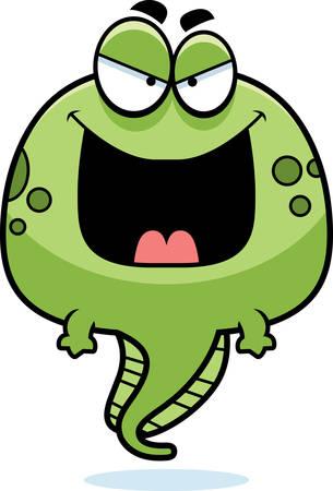tadpole: A cartoon illustration of an evil looking tadpole.