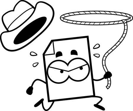 Een cartoon illustratie van een bestand ruzie bestand met een cowboyhoed en lasso. Stock Illustratie