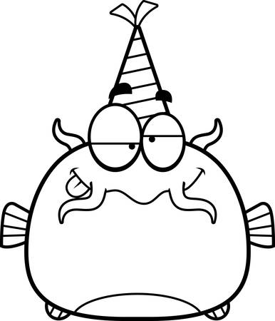 impaired: A cartoon illustration of a catfish with a party hat looking drunk.