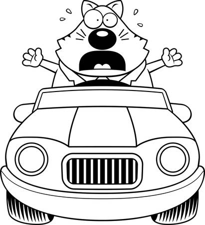 cat suit: A cartoon illustration of a fat cat driving a car and panicking. Illustration