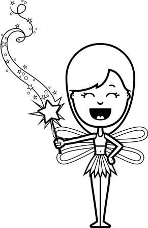 girl magic wand: A cartoon illustration of a teen fairy girl with a magic wand.