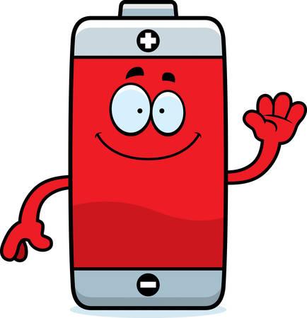 A cartoon illustration of a battery waving. Stok Fotoğraf - 44859187