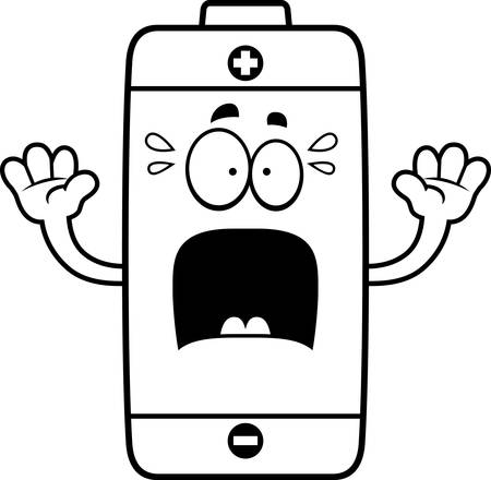 A cartoon illustration of a battery looking scared. Stok Fotoğraf - 44859196
