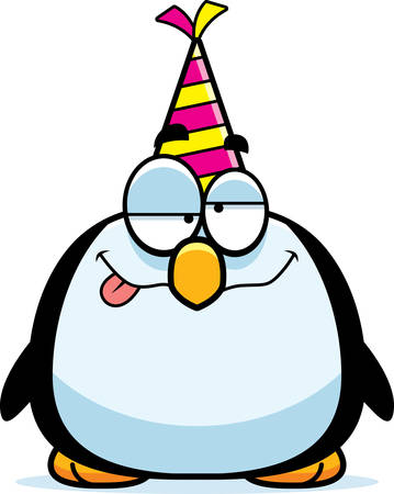 A cartoon illustration of a penguin with a party hat looking drunk.