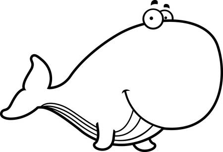 A cartoon illustration of a whale happy and smiling.