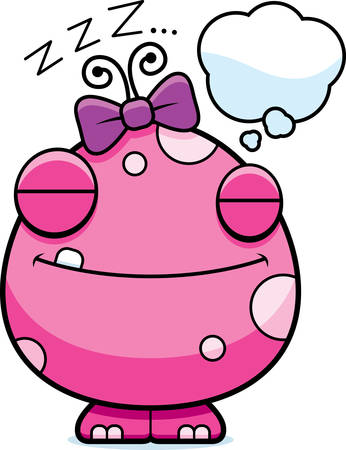 dreaming girl: A cartoon illustration of a baby girl monster dreaming. Illustration