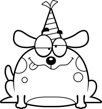 impaired: A cartoon illustration of a dog with a party hat looking drunk.