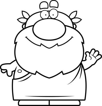 philosopher: A cartoon illustration of a Greek philosopher waving. Illustration