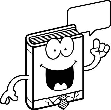talking cartoon: A cartoon illustration of a business book talking.
