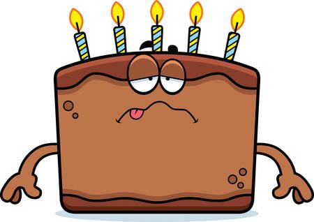 A cartoon illustration of a birthday cake looking sick. Illustration