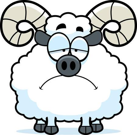 rams horns: A cartoon illustration of a ram looking sad.