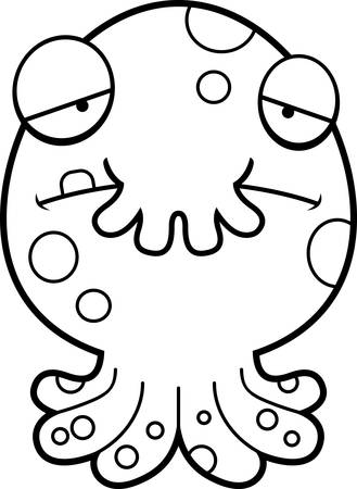 frowning: A cartoon illustration of a little monster looking sad.